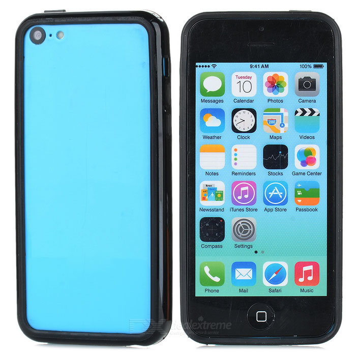 Protective TPU + PC Bumper Frame for Iphone 5C - Black protective tpu   pc bumper frame for lg