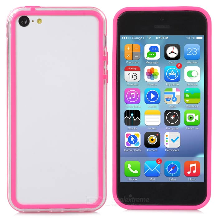 Protective PC + TPU Bumper Case for Iphone 5C - Transparent + Deep Pink
