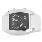 Rectangle Shaped LED Digital Wrist Watch - White + Silver + Black