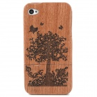 Flower and Tree Pattern Protective Wooden Case for Iphone 4 / 4S - Brown + Black