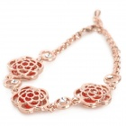 ZX-096 Rose Style Alloy Plating Rhinestone Bracelet for Women - Rose Gold + Red