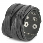 Fashionable Cool Punk Style Split Leather Bracelet - Black