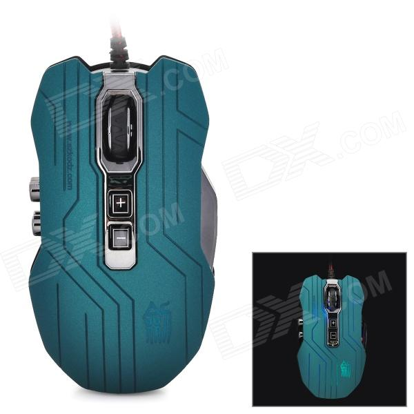 JS-X9 USB 2.0 Wired 2400dpi Optical Gaming Mouse - Teal + Black