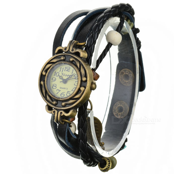 PU Band Bracelet Analog Quartz Wrist Watch for Women - Black