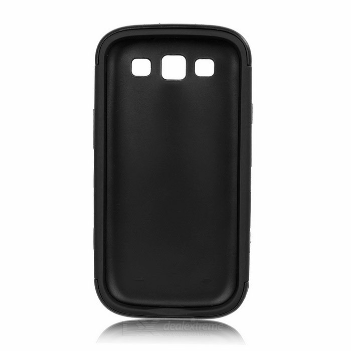 3-in-1 Protective Silicone + PC Back Case for Samsung Galaxy S3 i9300 - Black