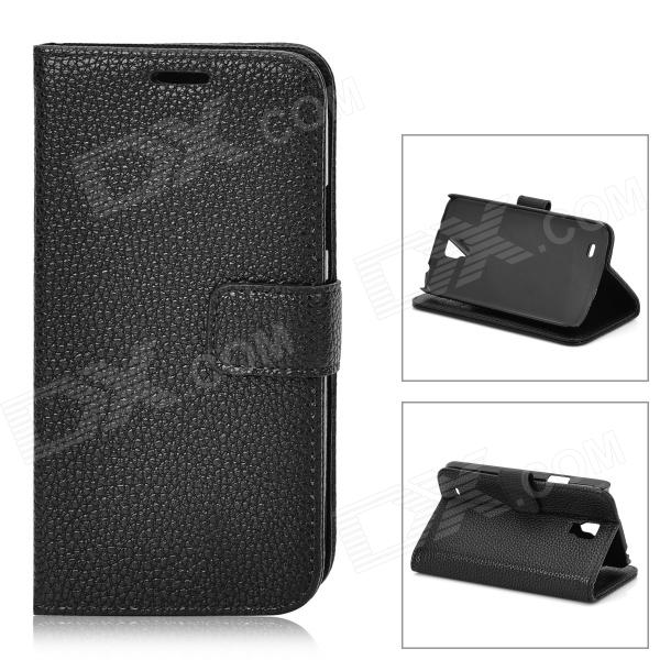 Lychee Grain Style Protective PU Leather Case for Samsung Galaxy S4 Active i9295 - Black protective flip open pu case w stand card slots for samsung galaxy s4 active i9295 black