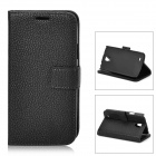 Lychee Grain Style Protective PU Leather Case for Samsung Galaxy S4 Active i9295 - Black