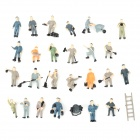 PT-27 DIY Building Railway Worker Display Models Set - Black + Yellow + Grey + Blue