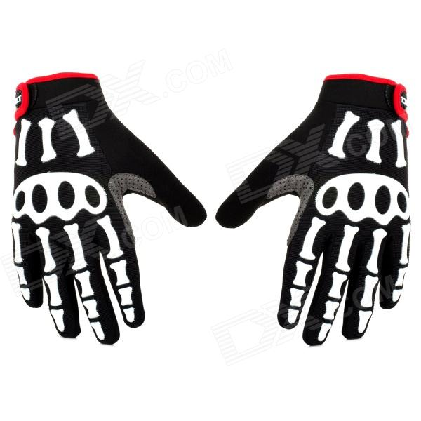 Spakct Cool Finger Joint Cycling Gloves - Black + White + Red (Pair / Size XXL) spakct s13g10 bicycle cycling full finger gloves black white xl