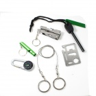 6-in-1 Outdoor Camping Waterproof Tool Set - Green + Silver