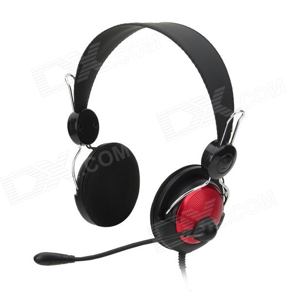 OVLENG V2 Stylish Stereo Headphones w/ Microphone - Black + Red (3.5mm Plug / 1.8m) 1more super bass headphones black and red