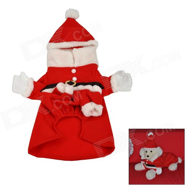 JUQI Christmas Coat + Hat for Pet Dog - Red + White + Black (Size L) ydl f4001 l fashion pirate style suit w hat for pet dog brown white multicolor size l