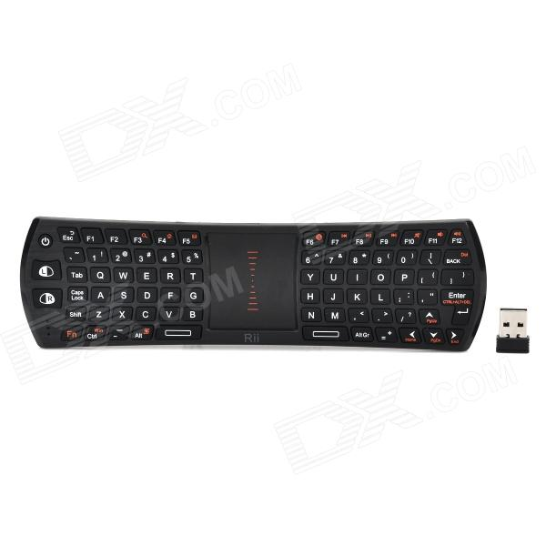 RII Mini 2.4GHz Wireless Air Mouse 78-Key Keyboard Combo w/ Touch Pad - BlackWireless Keyboards<br>Modeli24TForm  ColorBlackMaterialABSQuantity1Powered ByBuilt-in Battery,USBBattery Capacity300mAhSupports SystemLinuxPacking List1 x Keyboard (Receiver inside)1 x Charging cable1 x USB receiver1 x English user manual<br>