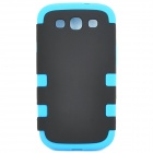 3-in-1 Protective Silicone + PC Back Case for Samsung Galaxy S3 i9300 - Black + Blue