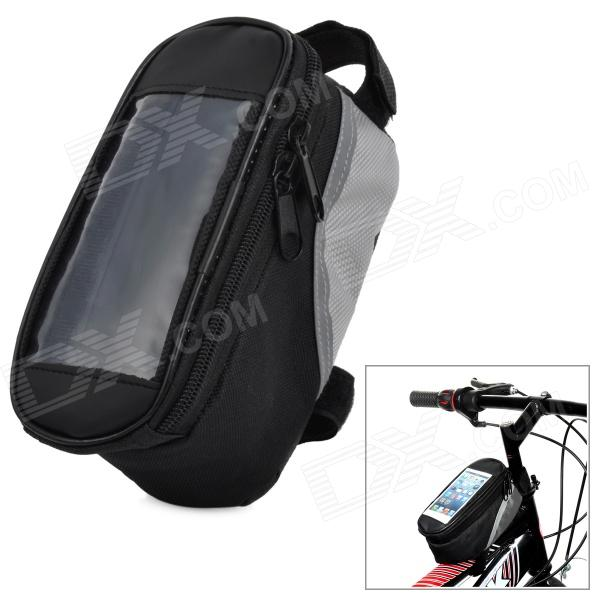 Oxford Cloth Bicycle Front Tube Bag w/ Transparent Window - Silver + Black livolo au us standard vl c902sr 11 remote switch white crystal glass panel 2 way wireless remote home wall light switch