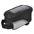 Oxford Cloth Bicycle Front Tube Bag w/ Transparent Window - Silver + Black