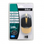 Stylish 2.4GHz Wireless Optical 1000dpi Mouse - Black + Golden (2 x AAA)