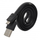 Ebai Micro USB Data / Charging Flat Cable for Samsung S3 / S4 / N7100 + More - Black (80cm)