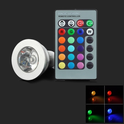 GU10 3W 90lm 1-LED RGB Light Spotlight w/ 24-key Remote Control - Silver (85-265V)