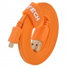 DTECH DT-60F15 USB 2.0-Stecker an Micro-USB-Stecker Flachkabel - Orange (180cm)