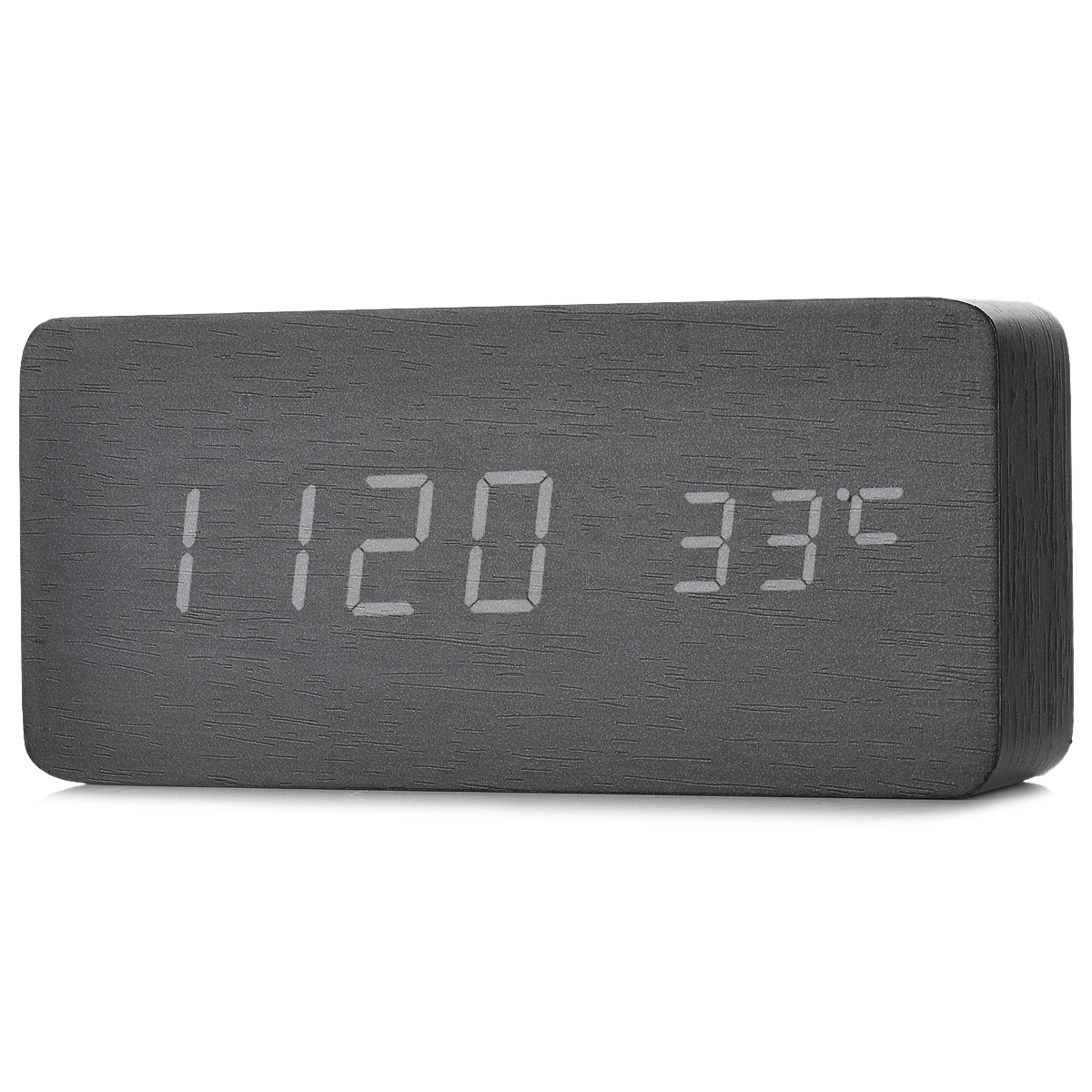 Li&Tai 6035 USB Powered Desktop White LED Alarm Clock w/ Temperature Display - Black (4 x AAA)