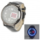 PU Leather Band Digital Quartz Wrist Watch for Men - Grey + Black