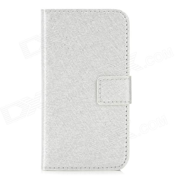 Protective PU Leather Case for Iphone 4 / 4S - Silver protective pu leather pouch bag for iphone 5 4 4s coffee