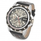 MCE Hollow-Out Automatic Mechanical Wrist Watch - Silver + Black