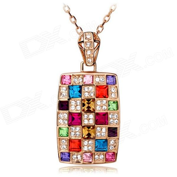 eQute PSWW194 Colorful Pendant Long Necklace - Multicolored (23) new rechargeable 600 lumens led flashlight torch cree xml u2 portable flash light free shipping