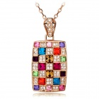"PSWW194 Colorful Pendant Long Necklace - Multicolored (23"")"