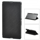 Pudini LX-39LR Ripple Style Protective PU Leather + PC Case for Sony XL39h Xperia Z Ultra - Black