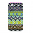Stylish Geometric Pattern Plastic Back Case for Iphone 4 / 4S - Green + Blue