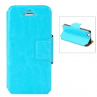Stylish Flip-Open PU Leather Case w/ Stand / Card Slot for Iphone 5 - Blue