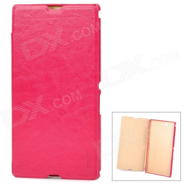 Pudini LX-39LR Protective PU Leather + PC Case for Sony XL39h Xperia Z Ultra - Deep Pink stylish mesh style protective back case for htc one x s720e pink
