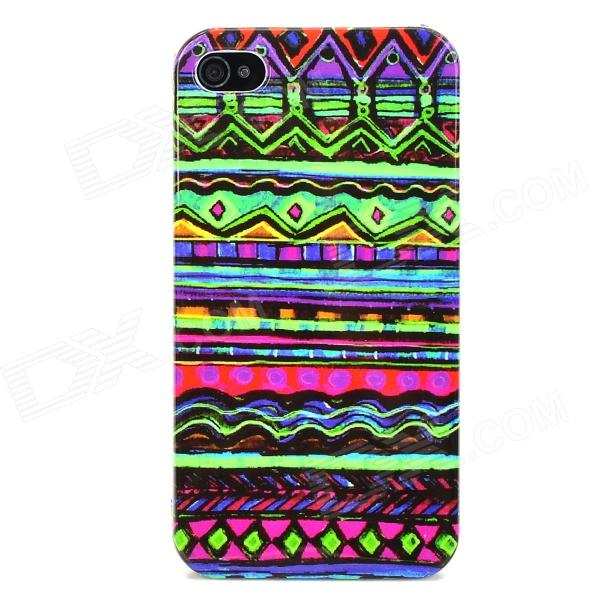 Tribal Ethnic Style Protective Plastic Back Case for Iphone 4 / 4S - Multicolor relief tribal ethnic style protective plastic back case for iphone 4 blue white red