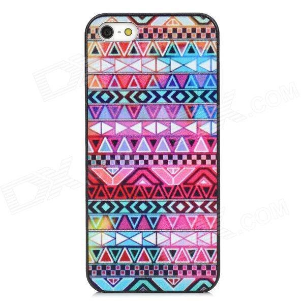 Stylish Geometric Pattern Plastic Back Case for Iphone 5 - Purple + Deep Pink cartoon pattern matte protective abs back case for iphone 4 4s deep pink