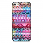Stylish Geometric Pattern Plastic Back Case for iPhone 5 - Purple + Deep Pink