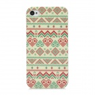Stylish Geometric Pattern Plastic Back Case for Iphone 4 / 4S - Beige