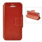 Stylish Flip-Open PU Leather Case w/ Stand / Card Slot for Iphone 5 - Coffee