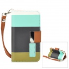 Protective PU Leather Case w/ Hand Strap for Iphone 4 / 4S - Black + Blue