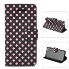 Stylish Dot Pattern PU Leather + Plastic Case w/ Stand / Card Slots for Iphone 5C - Black + Pink