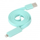 USB Male to 8-Pin Lightning + Micro USB Male Flat Charging / Data Sync Cable - Light Blue (109cm)
