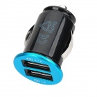 Car Cigarette Powered Charging Adapter Charger w/ Dual USB for Iphone / Samsung / HTC - Black + Blue