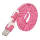 USB Male to 8-Pin Lightning Male Nylon Data Sync / Charging Cable - Pink + Green (100cm)