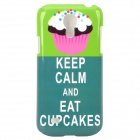 """KEEP CALM AND EAT CUP CAKES"" Style Protective Plastic Case for Samsung Galaxy S4 Mini i9190 - Green"