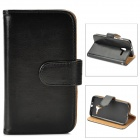 Stylish Flip-Open Leather + TPU Plastic Case w/ Stand / Card Slots for Motorola X Phone - Black