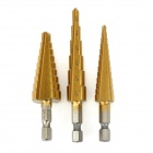 cmt 40264 Titanium Nitride Coated Steel Step Drill Bit Cutting Tools - Golden + Silver