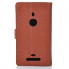 Lychee Grain Style Protective PU Leather Case for Nokia Lumia 925 - Brown
