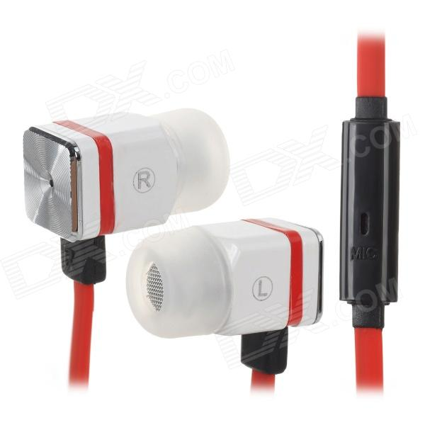 MAIBOSI MA-366 In-Ear Earphone w/ Microphone for Iphone / Ipod / Ipad - White + Red + Silver unt 28 retractable in ear earphones for iphone cellphone more white 3 5mm plug 120cm cable