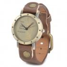Woman's Stylish Statue of Liberty Pattern Dial Analog Quartz Wrist Watch - Brown + Brass (1 x 377)